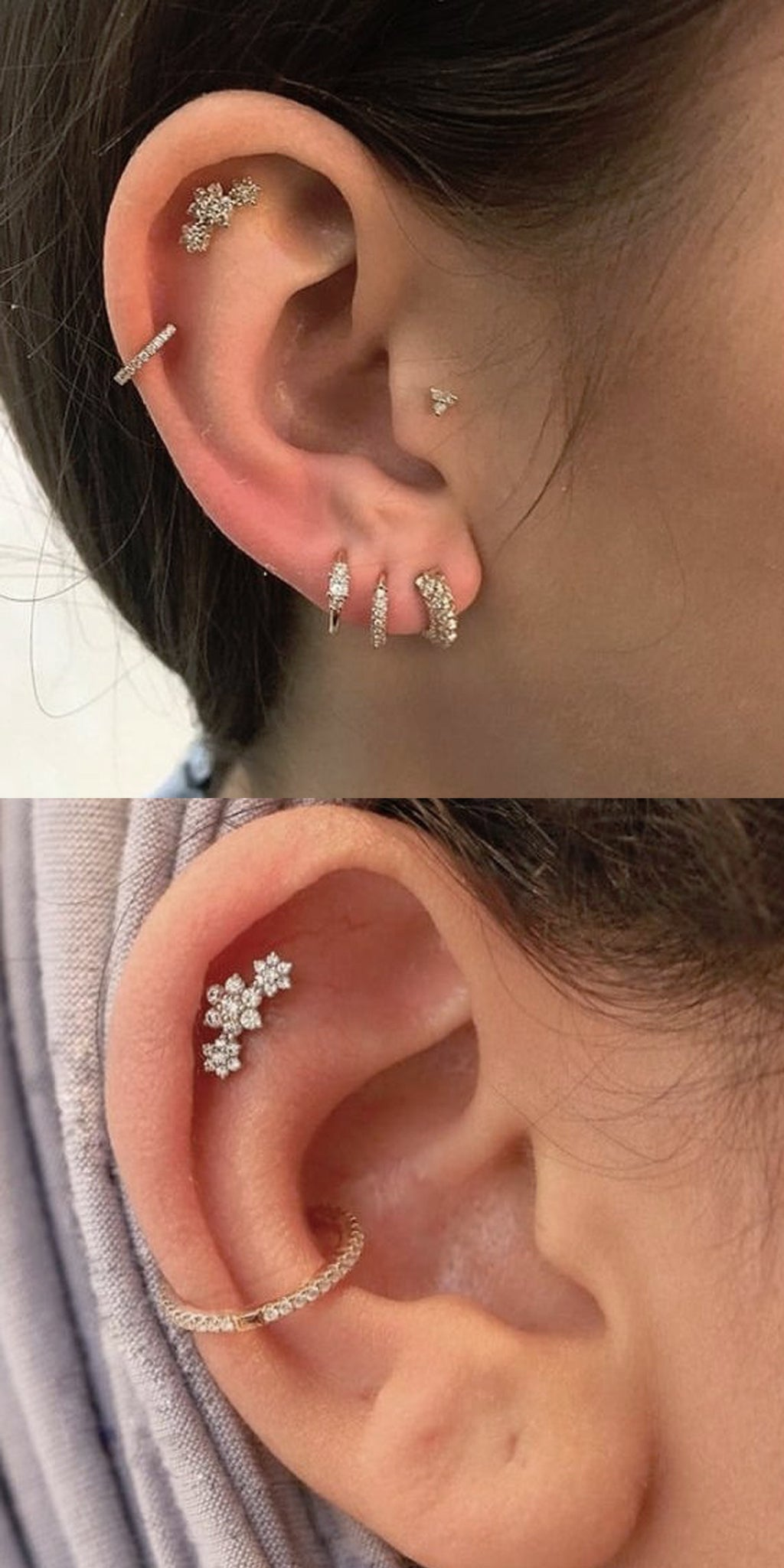 Celebrity Multiple Ear Piercing Ideas at MyBodiArt.com - Triple Flower Cartilage Earring Stud - Single Cartilage Ring - Conch Jewelry