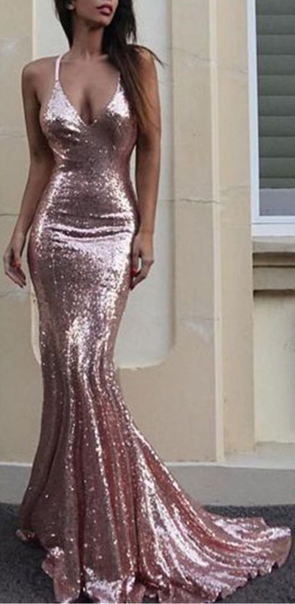 Fancy New Years Eve Outfit Ideas 2018 - Rose Gold Sequin Gown Mermaid Dresses - MyBodiArt.com
