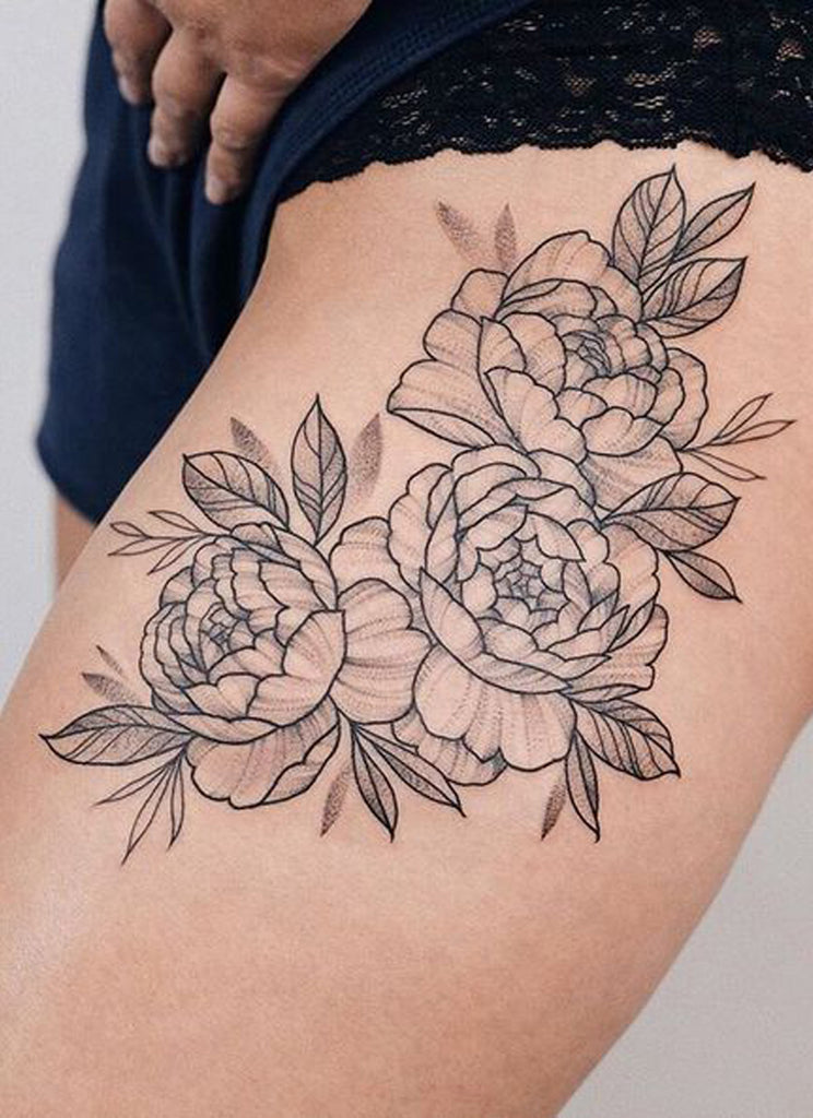 Black Outline Floral Flower Thigh Tattoo Ideas for Women - www.MyBodiArt.com