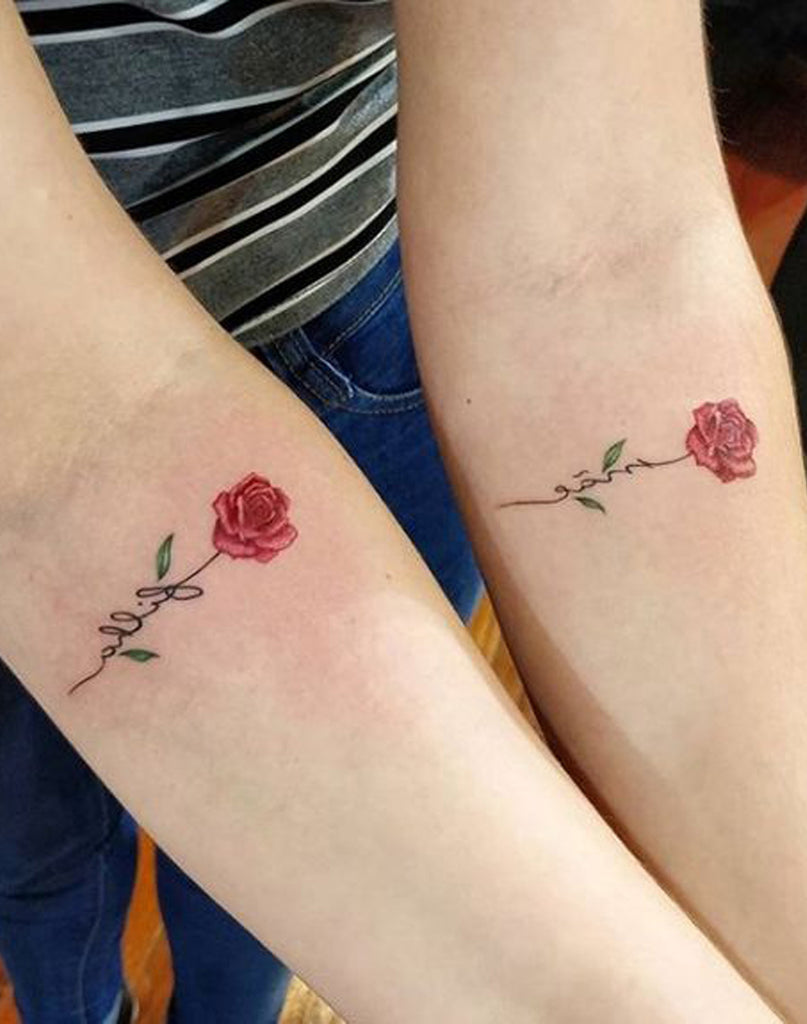 Cute Small Rose Script Forearm Tattoo Ideas for Best Friends Matching Watercolor Flower Arm Tattoos - pequeñas ideas de tatuaje de antebrazo rosa - www.MyBodiArt.com