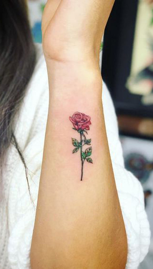 Single Red Rose Small Tattoo Ideas for Women -  Ideas de tatuaje de flores para mujeres - www.MyBodiArt.com