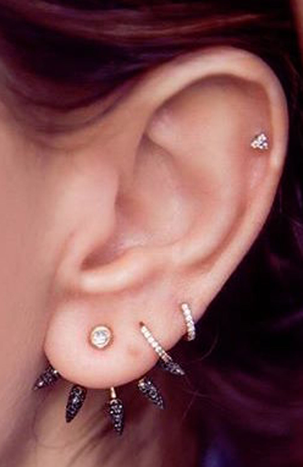 Simple Minimalistic Ear Piercing Ideas - Cool Unique Ear Jacket Earrings - Cartilage Helix Earring Jewelry Stud at MyBodiArt.com