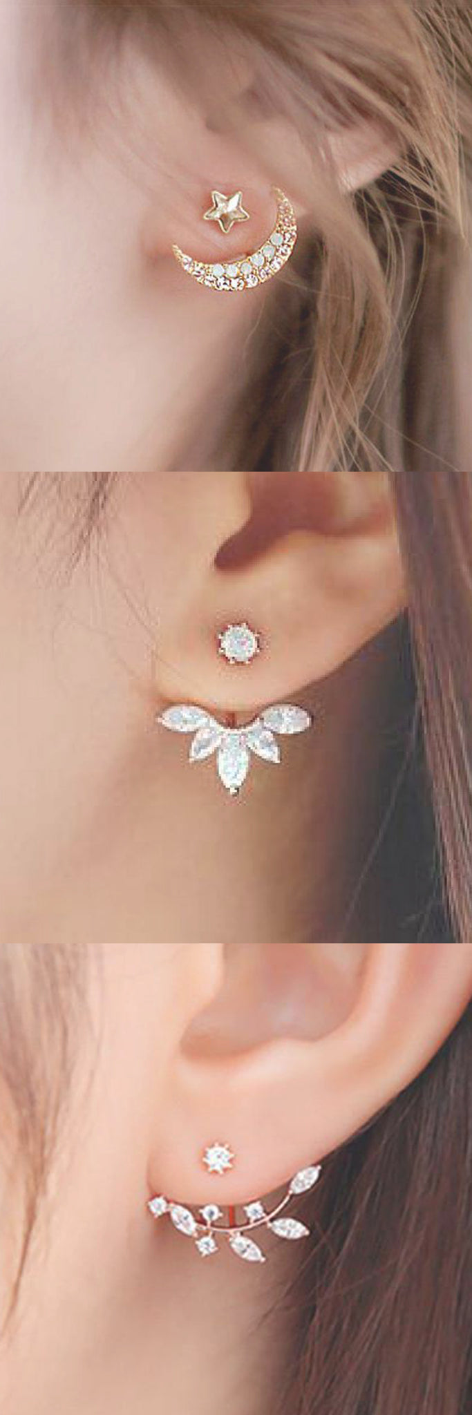 Elegant Lobe Ear Piercing Ideas at MyBodiArt.com - Ear Jacket Earrings