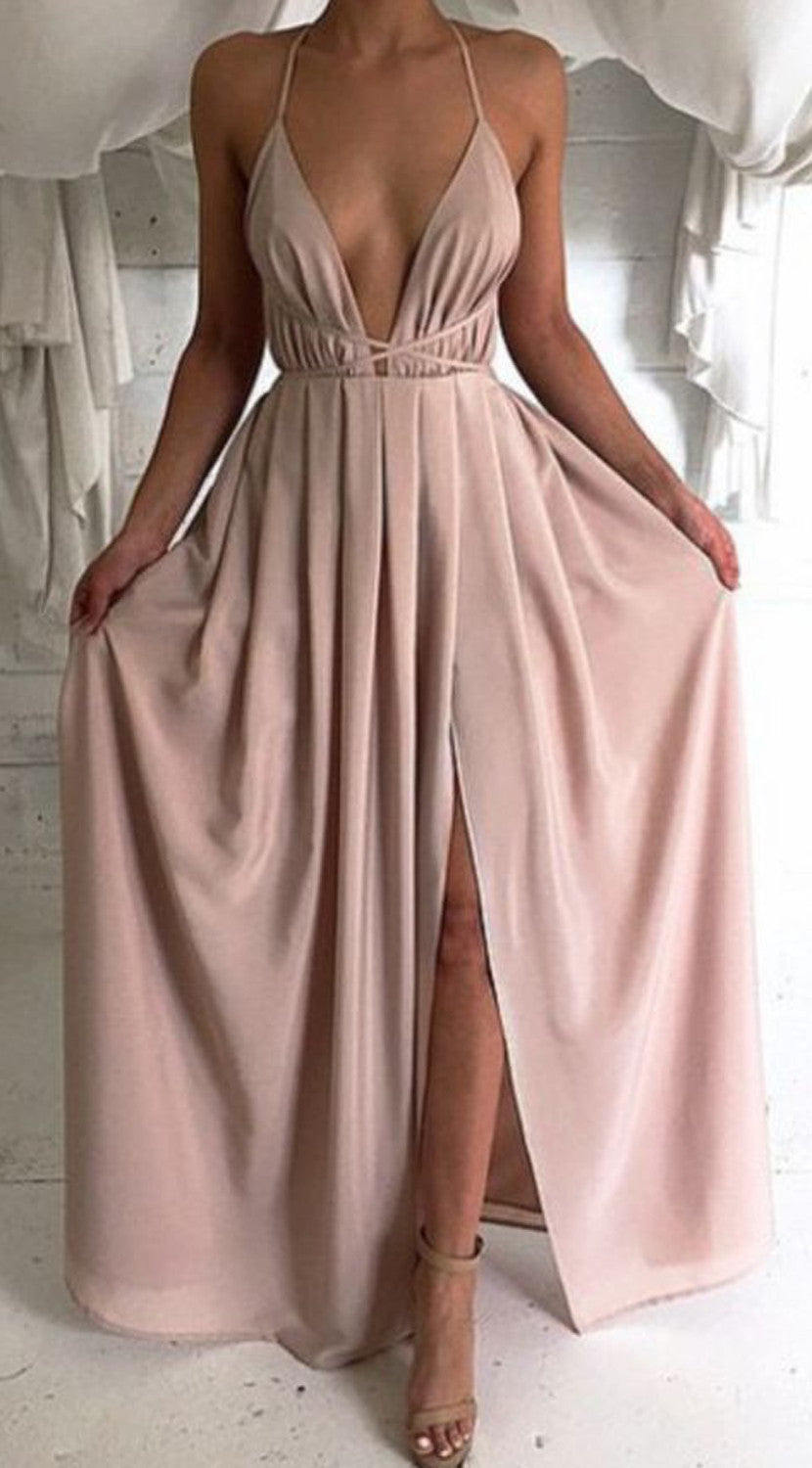 Homecoming Evening Prom Long Nude Satin Lace Maxi Dress  - MyBodiArt.com