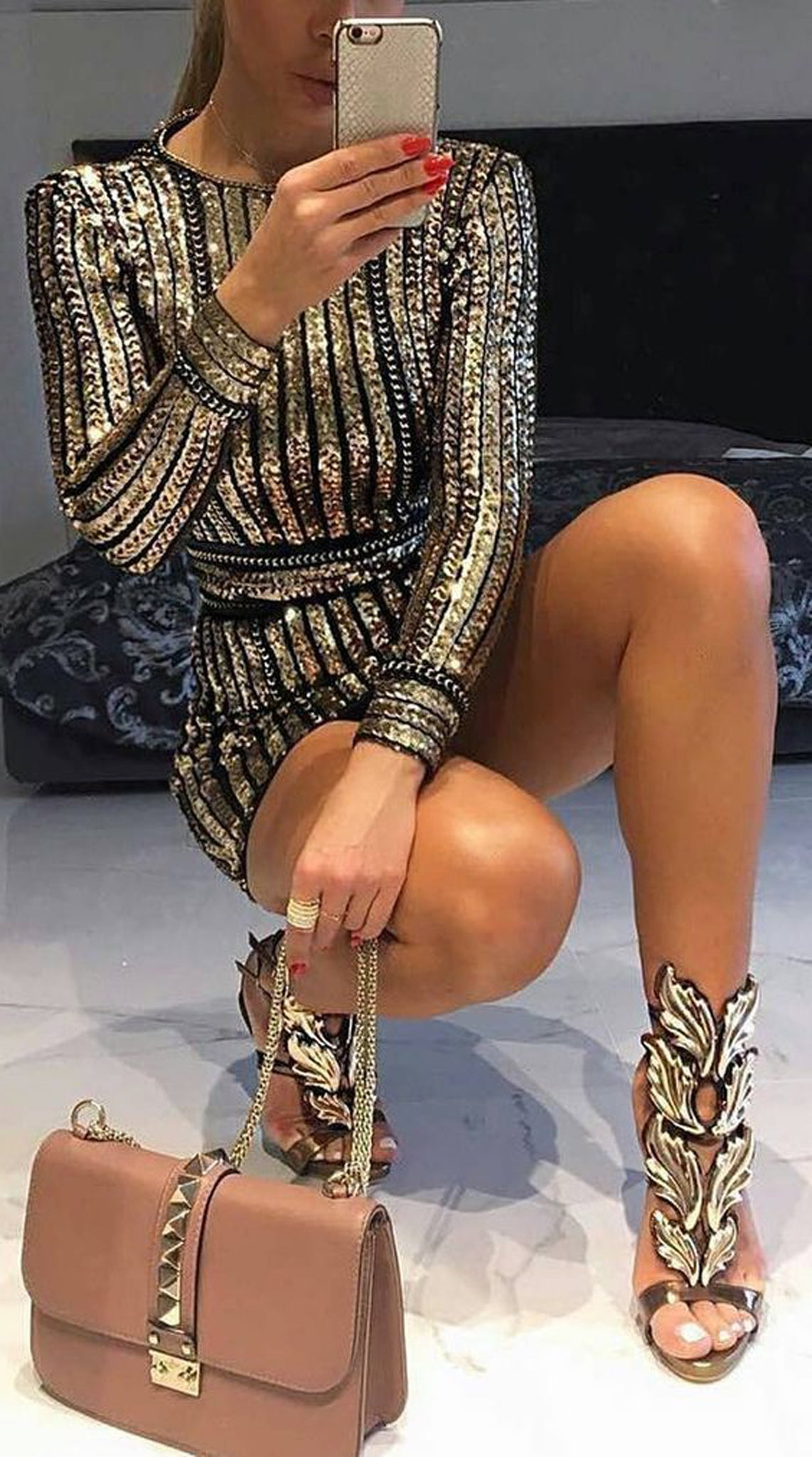 Fancy Party Outfits Ideas for the Holidays 2017 - Sparkly Sequin Panel Mini Black Dress - Leaf Feather Giuseppe High Heels - Valentino Crossbody - MyBodiArt.com