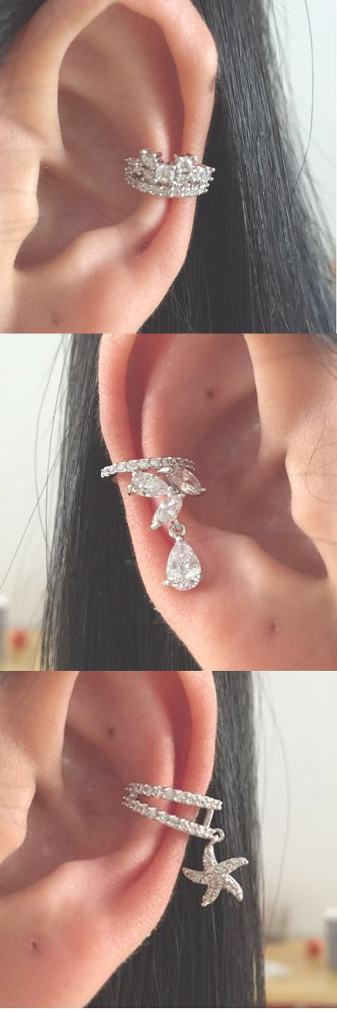 Simple Flat Silver Ear Piercing Ideas - Artes Oreja - Oor Piercing - Crystal Cartilage Helix Conch Ring Earrings