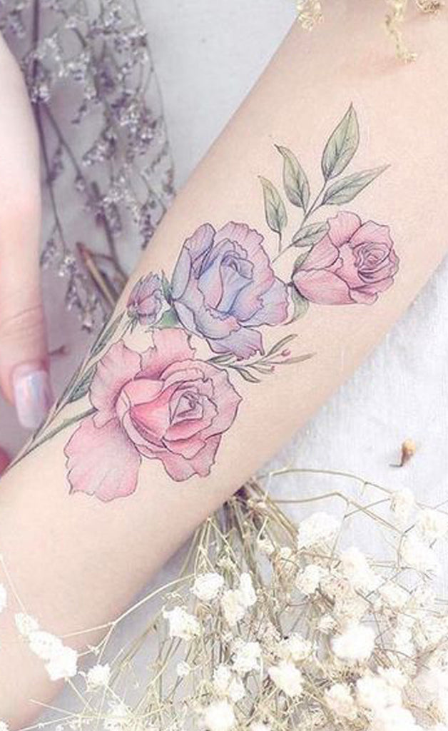 Watercolor Rose Forearm Tattoo Ideas for Women - Pretty Floral Flower Arm Tattoos - www.MyBodiArt.com