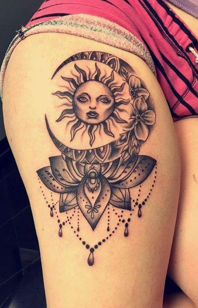 Cool Unique Sun And Moon Chandelier Thigh Hip Tattoo Ideas