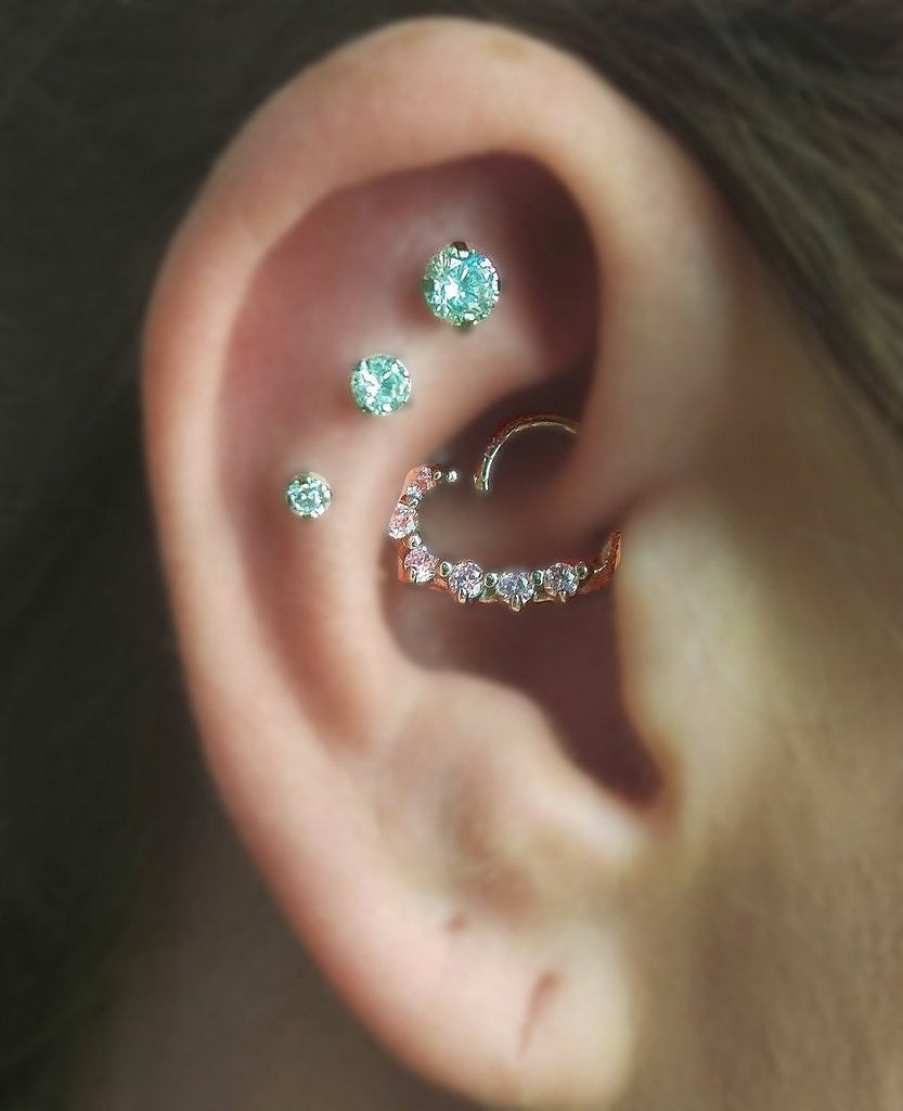 Multiple Ear Piercing Ideas at MyBodiArt.com - Crystal Heart Rook Ring - 16G Cartilage Constellation Studs