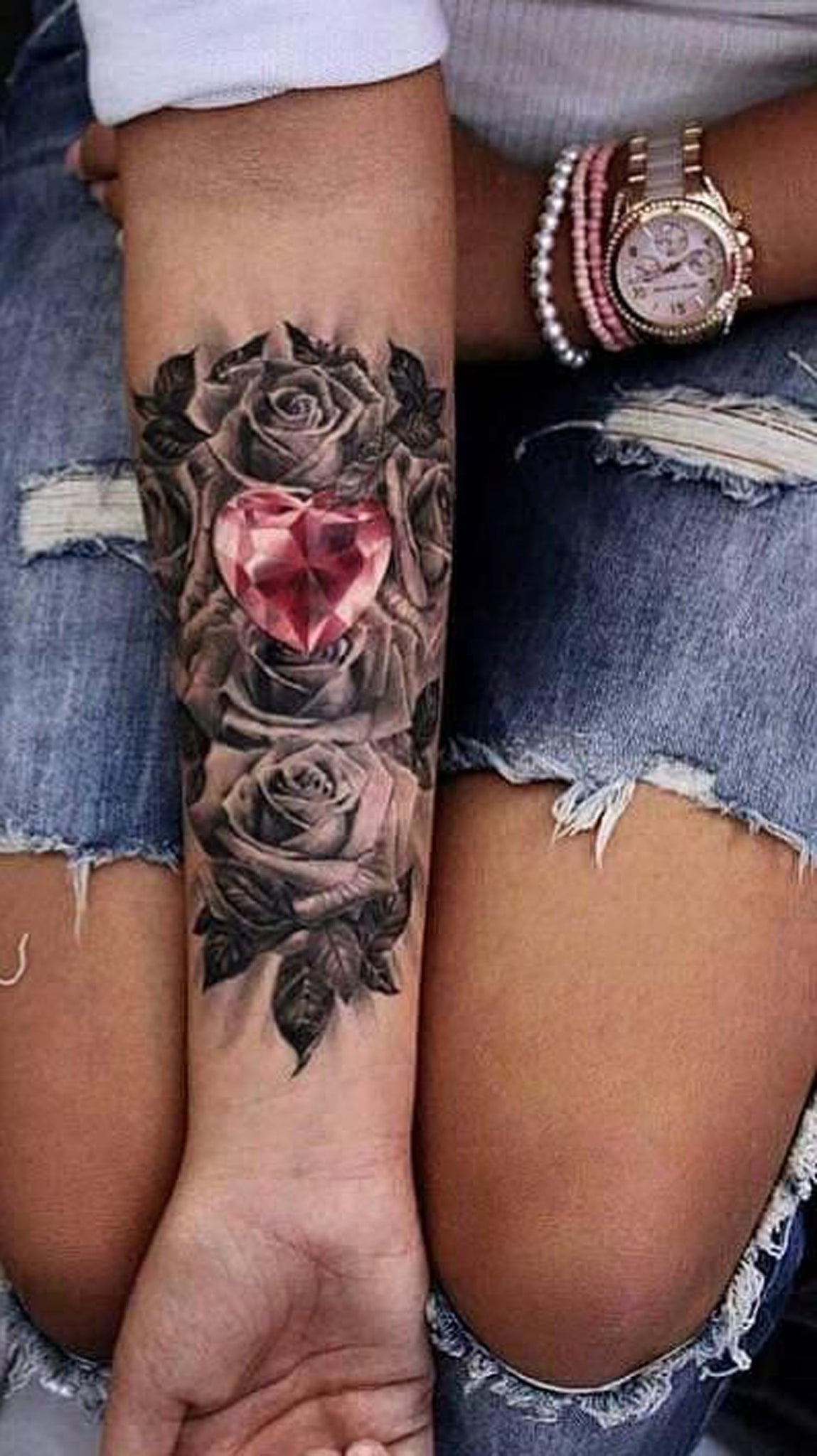 Pink Crystal Heart Forearm Tattoo ideas for Women - Black Floral Flower Rose Inner Wrist Arm Sleeve Tat -  ideas de tatuaje de antebrazo rosa - www.MyBodiArt.com