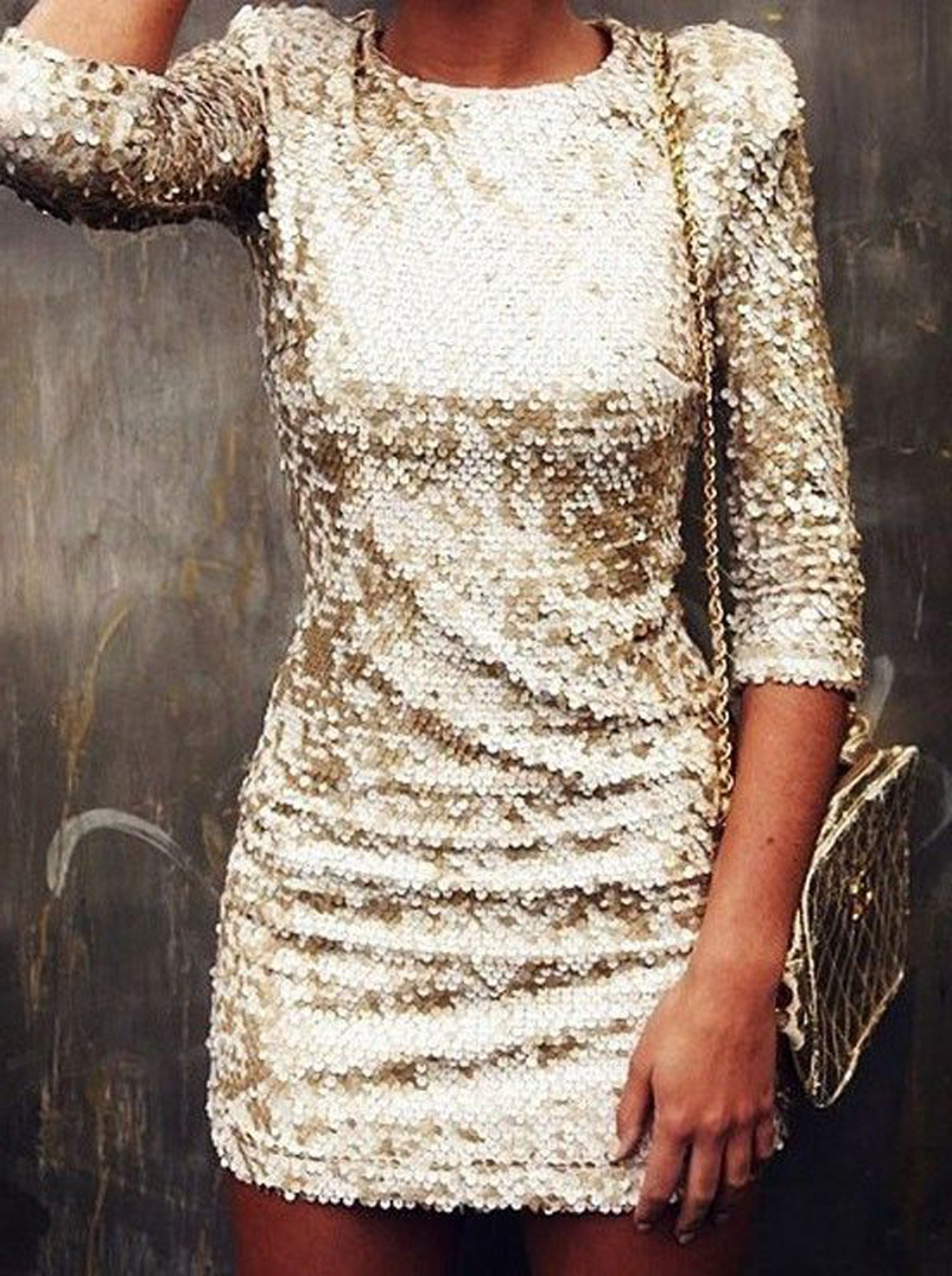 Formal New Years Eve Outfit Ideas for Winter Holiday Parties - Gold Sparkly Sequin Dresses - MyBodiArt.com