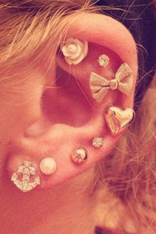 Cute Ear Piercing Ideas for Helix, Cartilage, Lobe