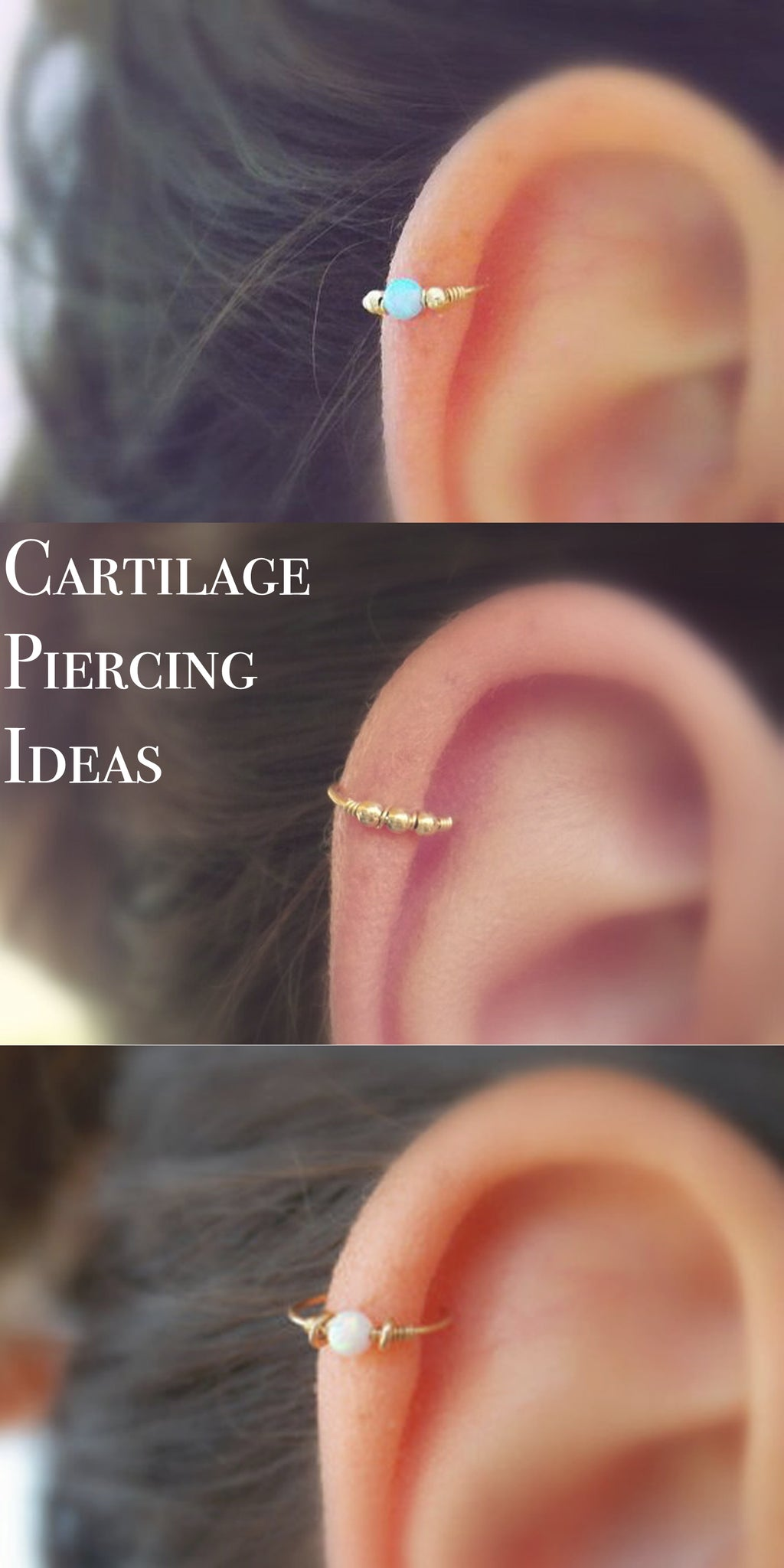 Cool Cartilage Ear Piercing Ideas at MyBodiArt.com - Minimalist Pretty All the Way Upper Gold Opal Cartilage Earring Ring Hoop