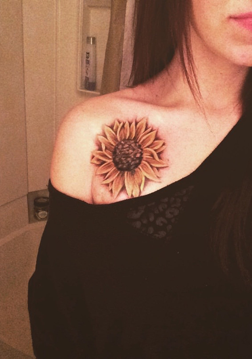 Vintage Sunflower Colored Flower On Shoulder Tattoo Ideas at MyBodiAr.com