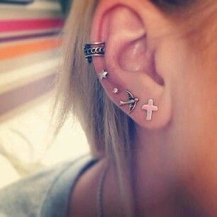 Click Here to See More Cute Ear Piercings for Cartilage Piercing, Helix Piercing, Lobe Piercings at MyBodiArt