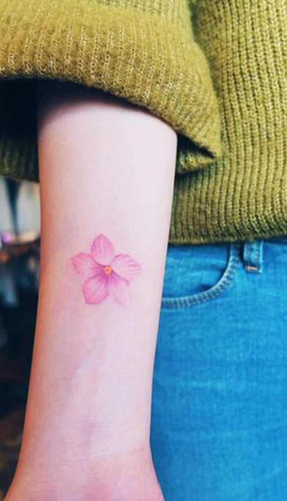 Pink Flower Watercolor Cherry Blossom Wrist Tattoo Ideas for Women - www.MyBodiArt.com