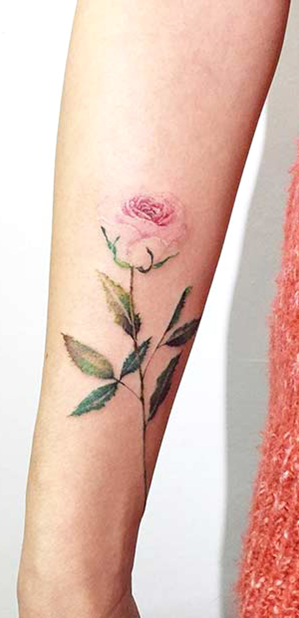 Small Delicate Single Rose Forearm Tattoo Ideas for Women - Vintage Traditional Arm Tat - www.MyBodiArt.com