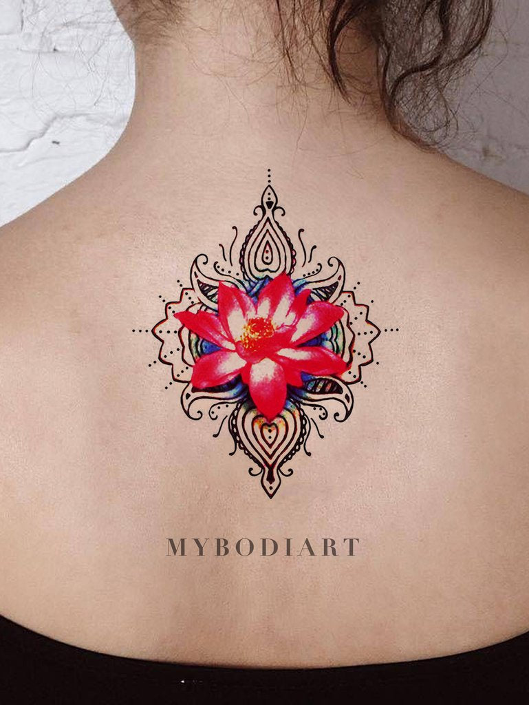 Unique Waterlily Geometric Mandala Back Tattoo Ideas for Women - Watercolor Floral Flower Lily Tribal Boho Spine Tat - ideas de tatuaje de acuarela lily flower back para mujeres - www.MyBodiArt.com #tattoos