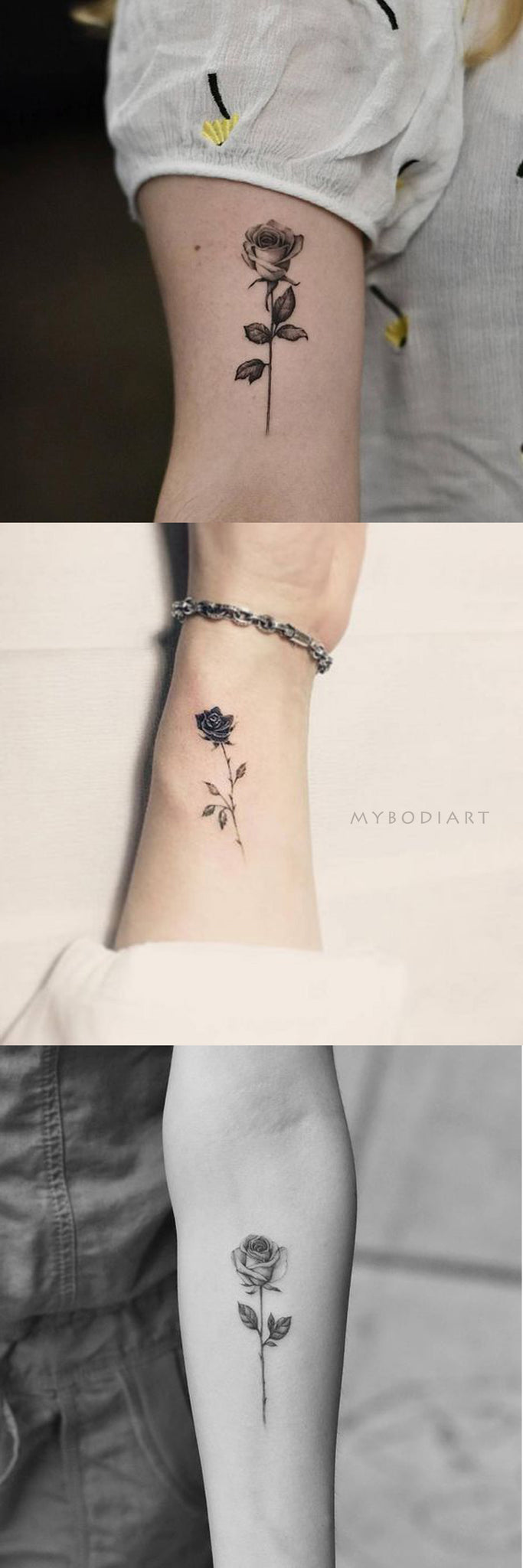 Popular Vintage Black Rose Wrist Arm Tattoo Ideas for Women -  Ideas de tatuaje de brazo de rosa negro vintage para mujeres - www.MyBodiArt.com