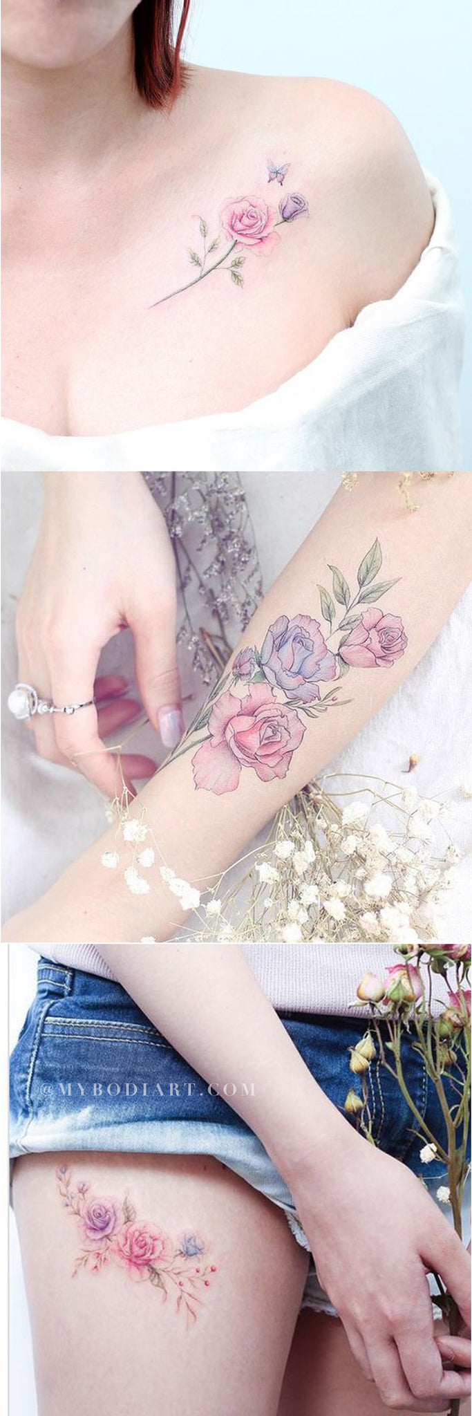 Delicate Watercolor Tattoo Ideas for Women Opal Floral Flower Pink Blue Shoulder Forearm Thigh Tattoos - www.MyBodiArt.com