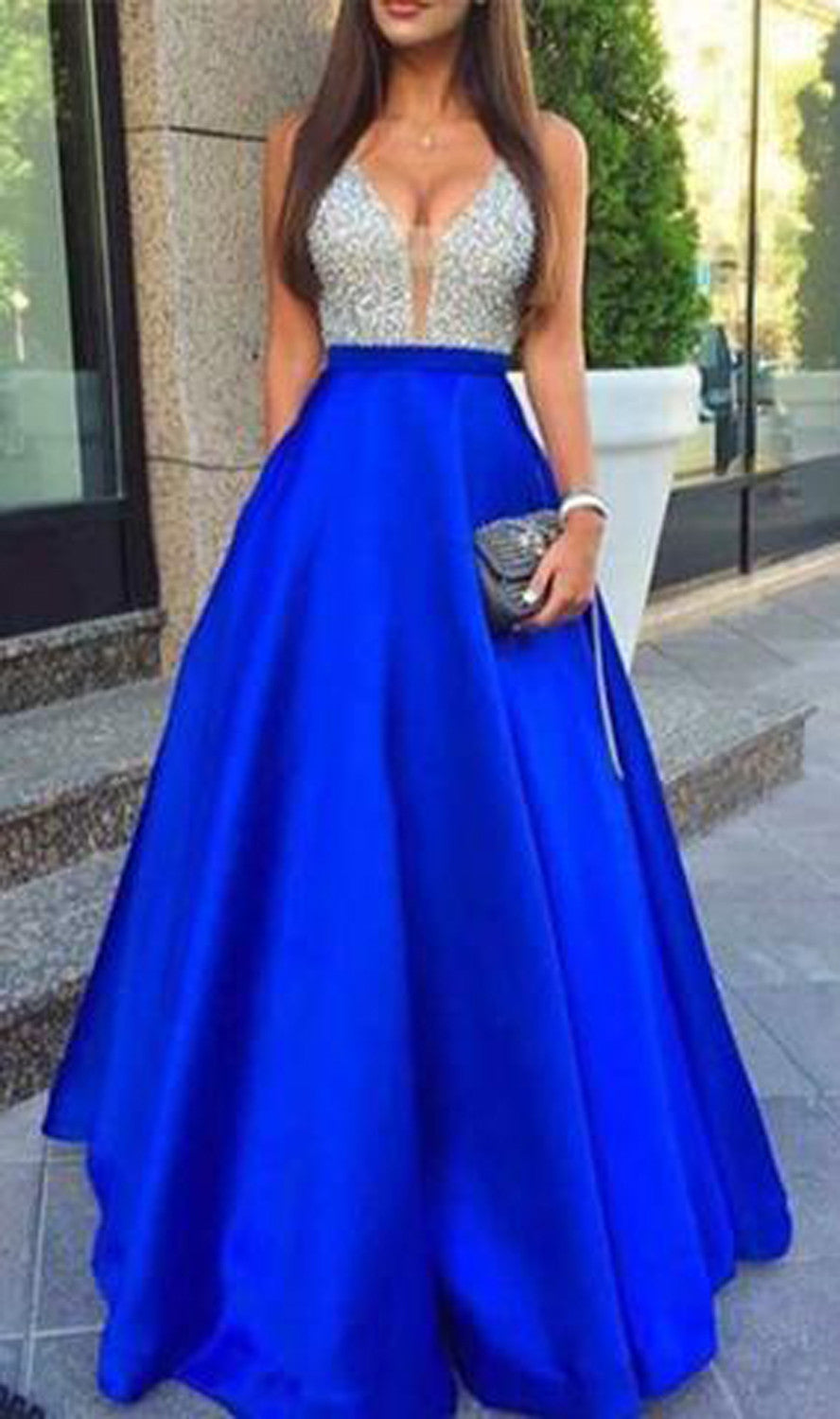 Sparkly Glitter Prom Dress Outfit Ideas Long Blue Two Piece Aline - MyBodiArt.com