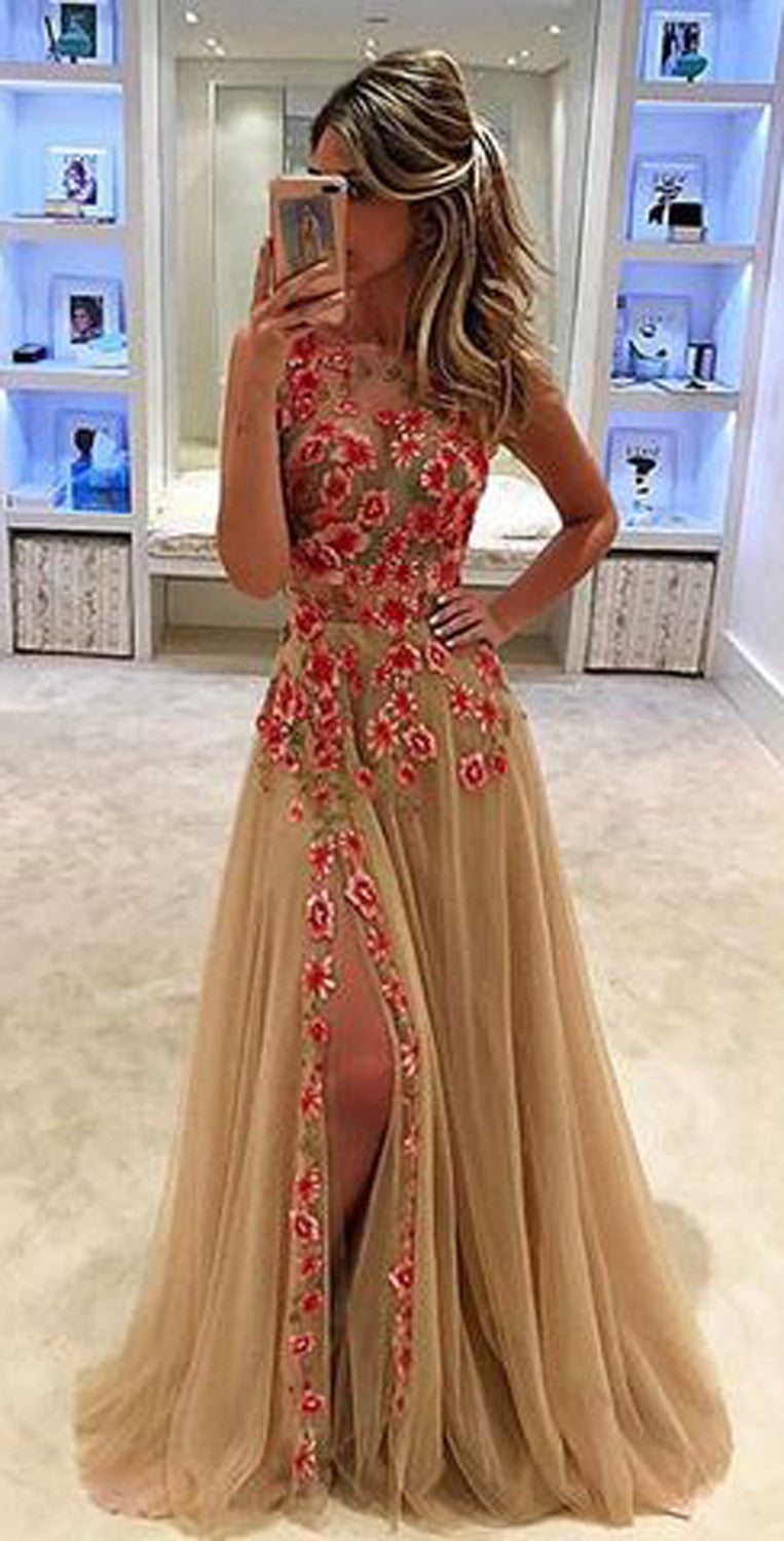 Cute Prom Evening Dresses for Teens 2017 Floral Lace Chiffon Dress A Line - MyBodiArt.com