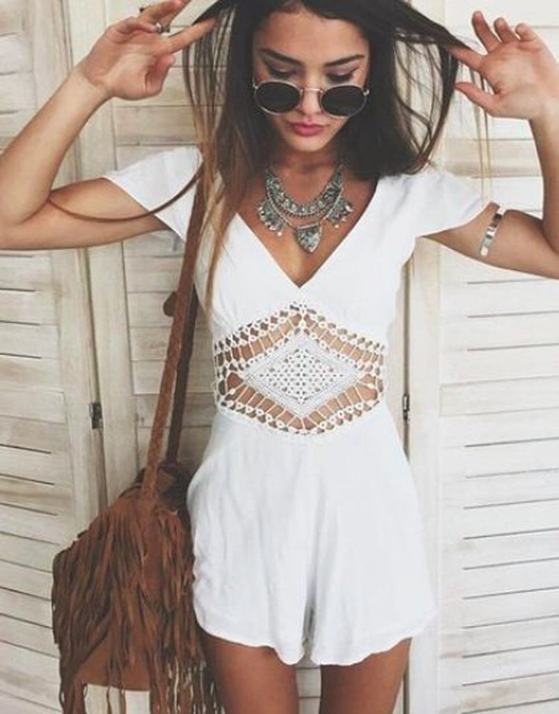 Spring 2017 Boho Chic Fashion Outfit Ideas - Indie Hippie Bohemian Style - Womens Romper - Jewelry & Accessories at MyBodiArt.com