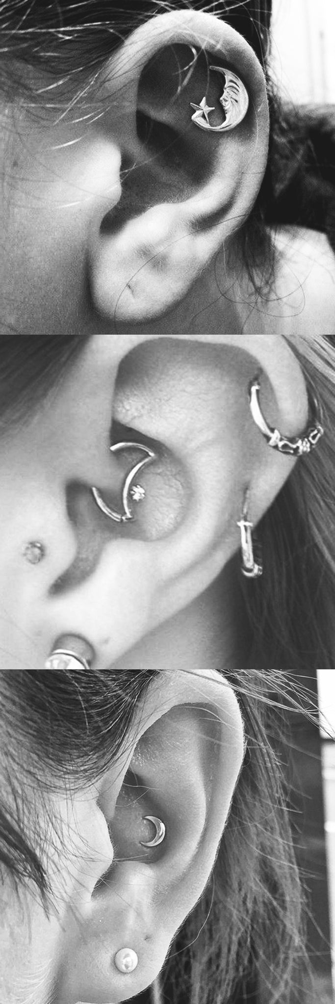 Cool Multiple Ear Piercing Ideas - Moon Cartilage Stud - Crecent Daith Rook Earring - Small Gold Moon Conch Barbell at MyBodiArt.com