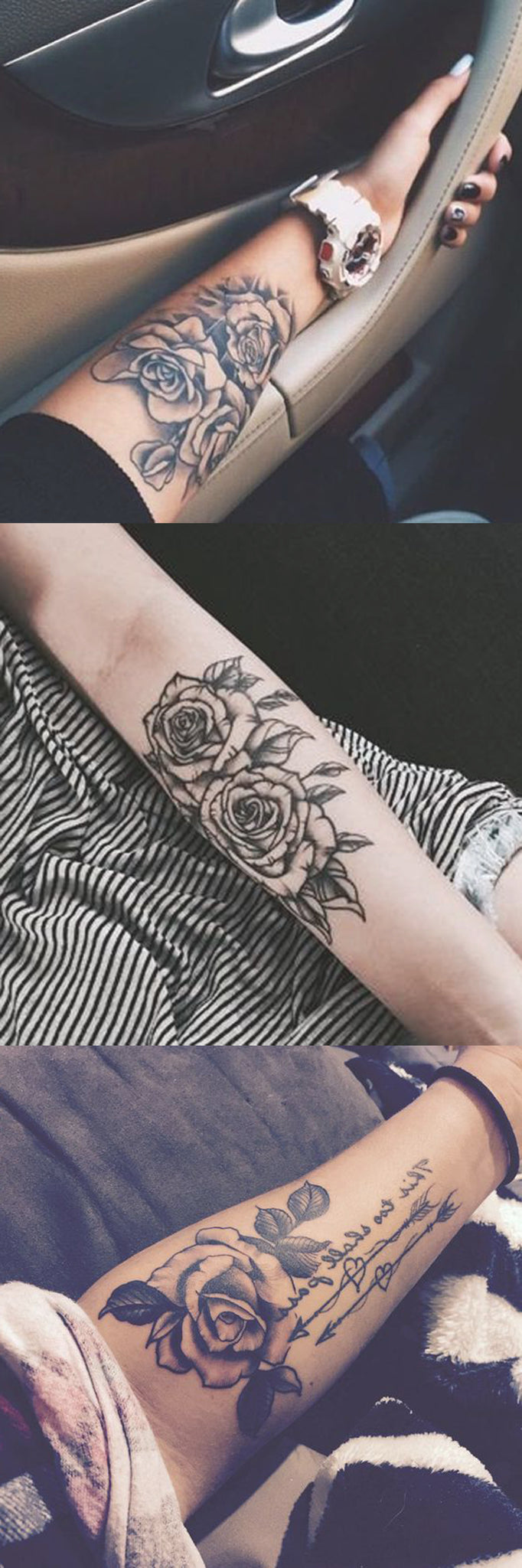 aecac6238 Black Rose Forearm Tattoo Ideas - Girly Realistic Floral Flower Arm Tat - rose  arm sleeve