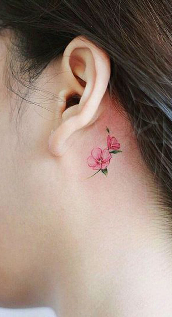 Cute Small Pink Watercolor Behind the Ear Tattoo Ideas for Women - www.MyBodiArt.com