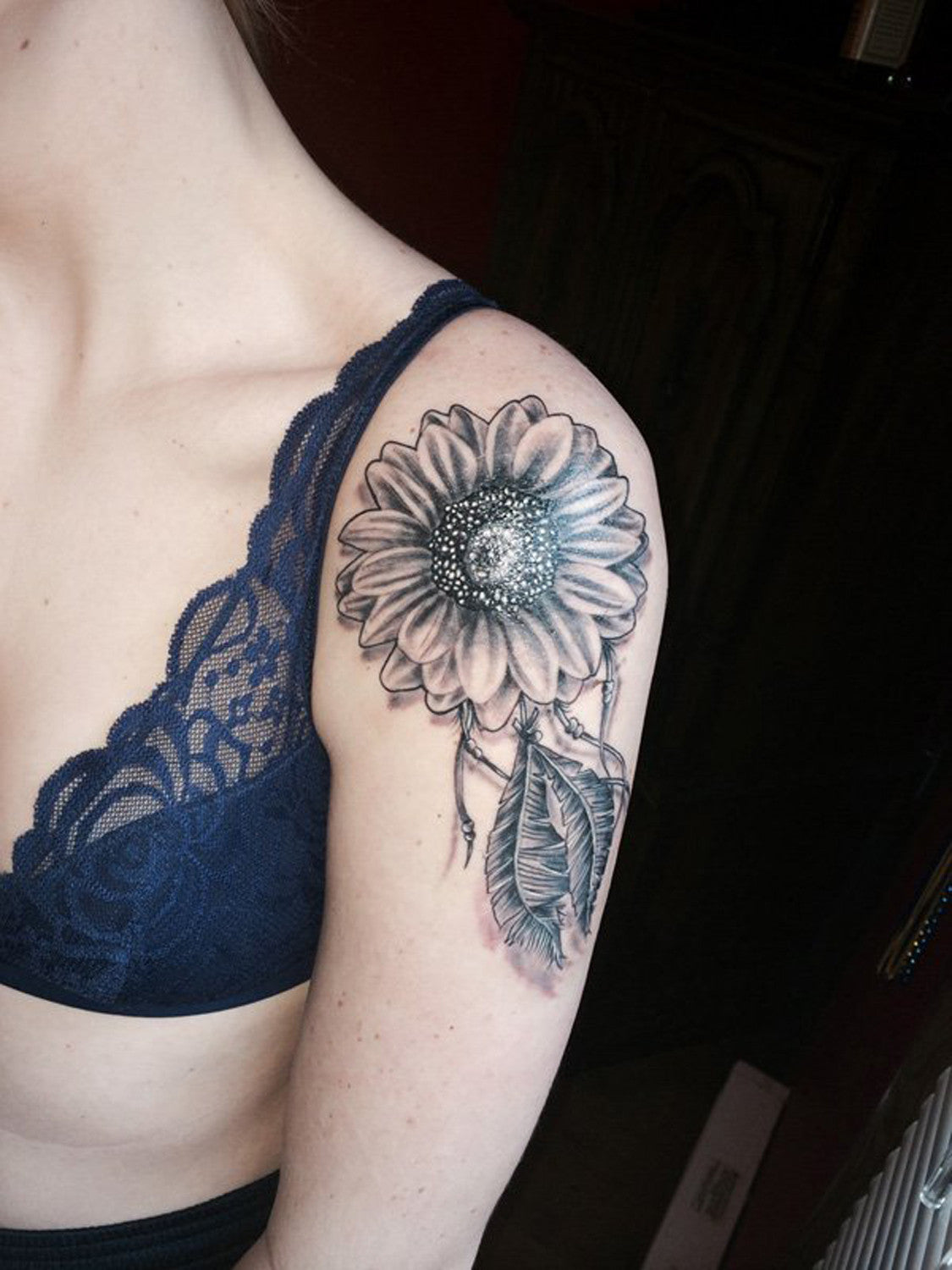 Traditional Simple Full Sunflower Shoulder Tattoo Ideas for Women at MyBodiArt.com