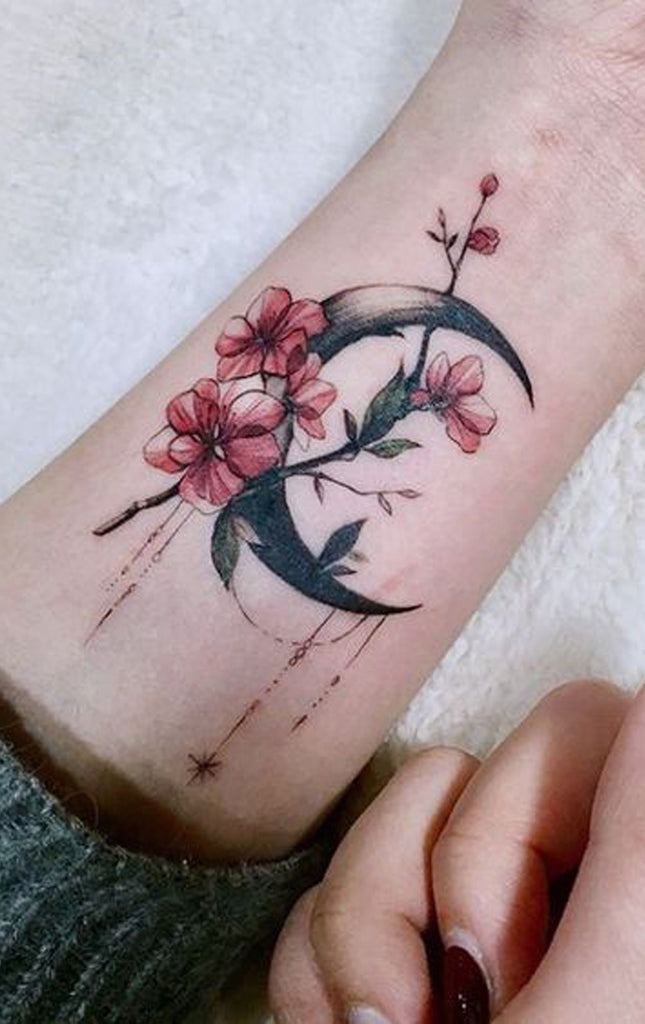 Floral Flower Moon Cherry Blossom Ankle Tattoo Ideas for Women - www.MyBodiArt.com
