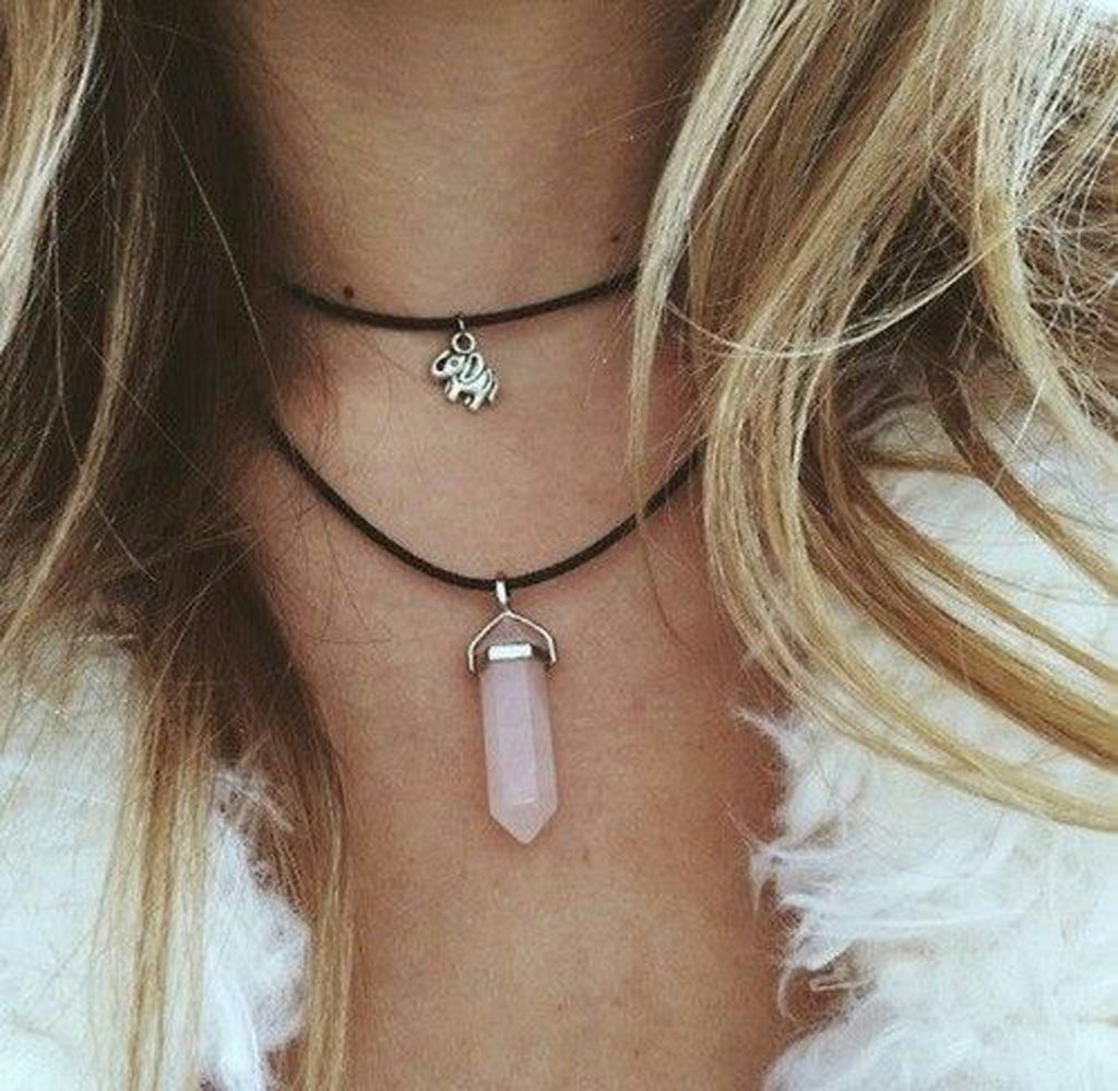 Black Choker Necklace With Pink Gemstone at MyBodiArt.com - For Teens For School Grunge Boho Chic Bohemian Outfit Ideas
