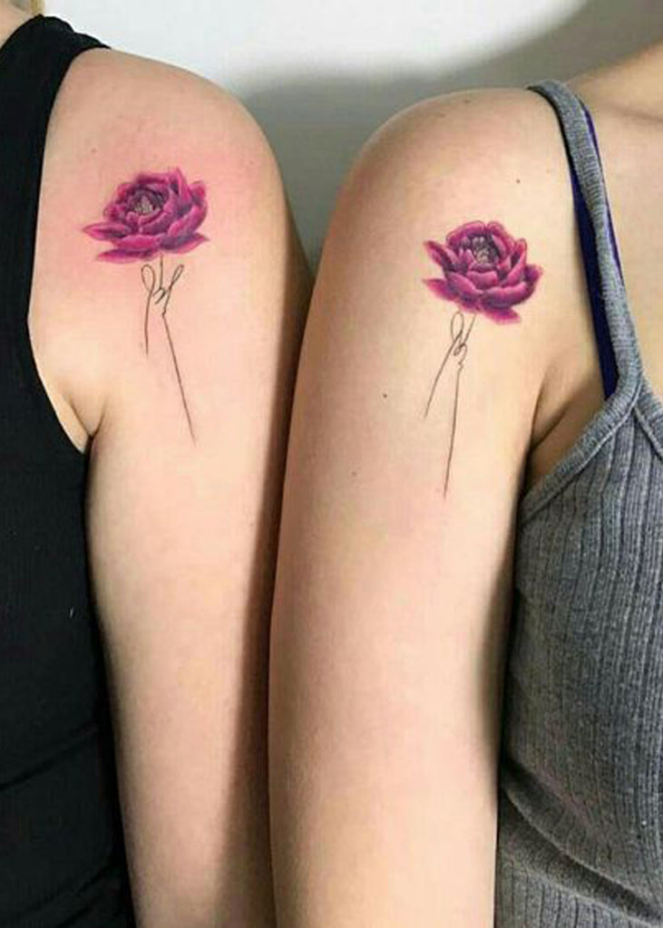 Matching Best Friends Sisters Rose Script Quote Shoulder Arm Tattoo ideas for Women - www.MyBodiArt.com