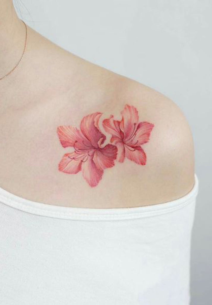 Unique Beautiful Coral Orange Lily Floral Flower Shoulder Tattoo Ideas for Women - www.MyBodiArt.com