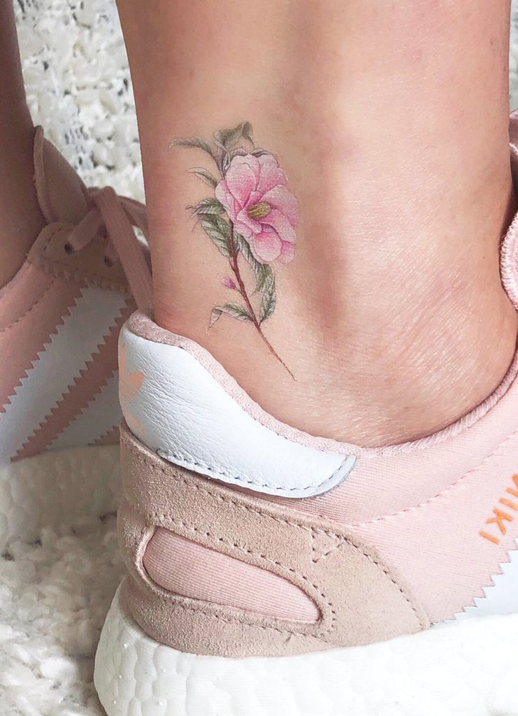 Cute Small Realistic Pink Floral Flower Ankle Tattoo Ideas for Women - www.MyBodiArt.com