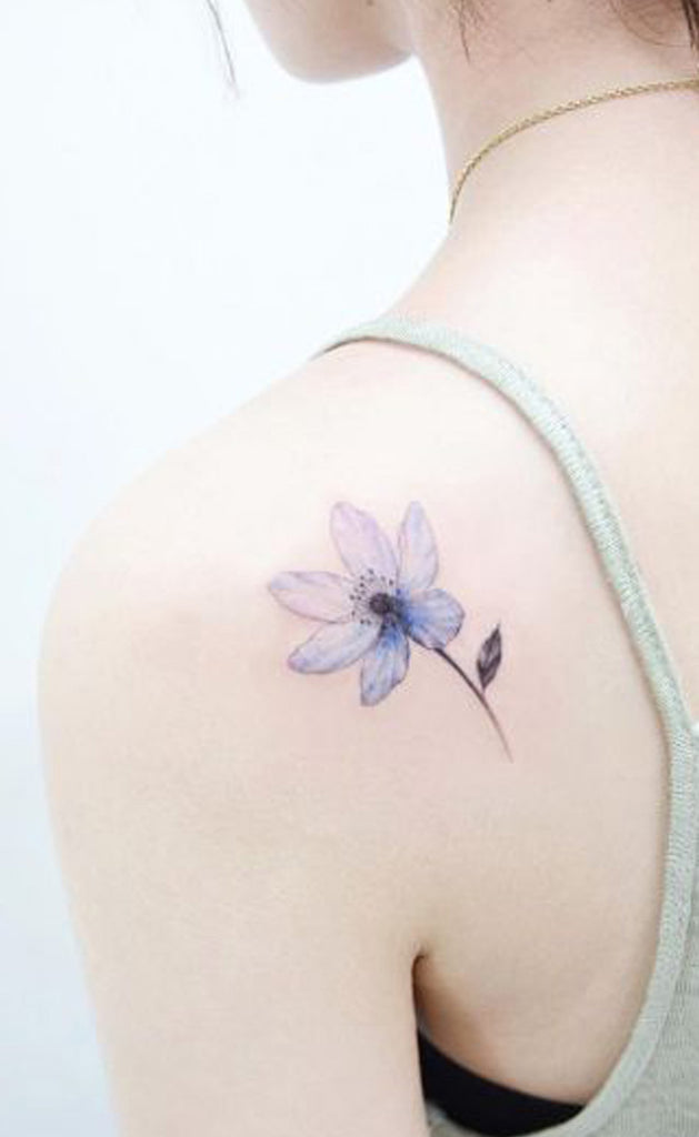 Pretty Blue Watercolor Floral Flower Tattoo Ideas for Women -  Ideas de tatuaje de flores para mujeres - www.MyBodiArt.com