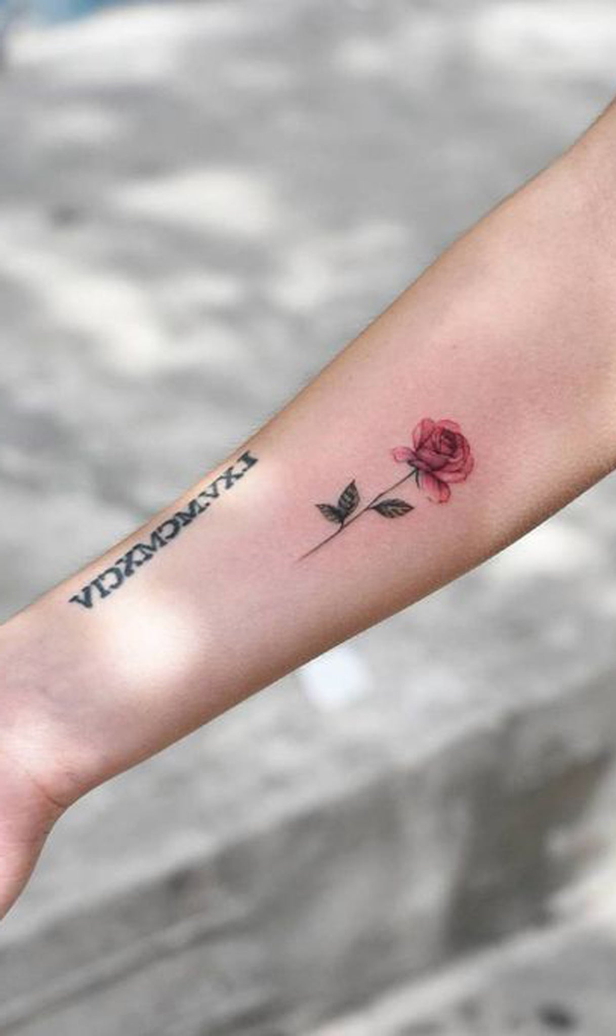 Cute Watercolor Small Rose Forearm Tattoo Ideas for Women - www.MyBodiArt.com #tattoos