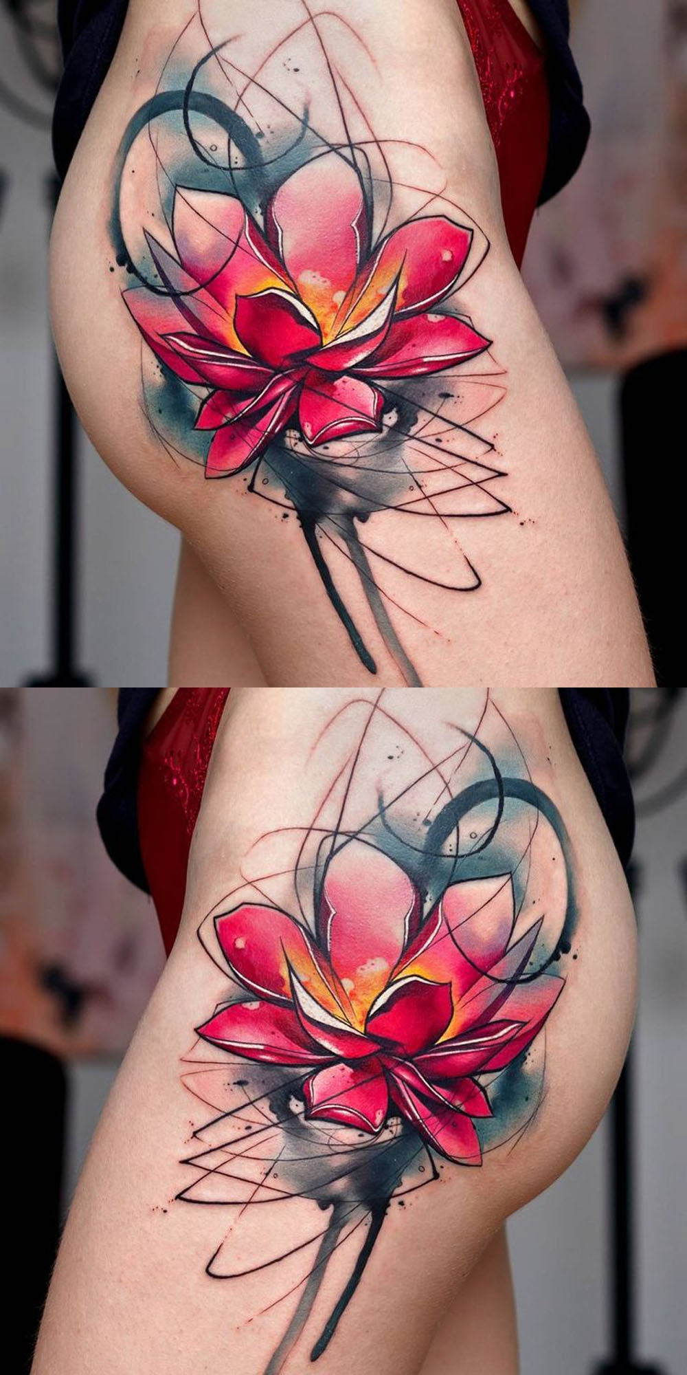 Popular Watercolor Lily Lotus Side Thigh Hip Tattoo Ideas for Women -  ideas de tatuaje de cadera de loto para las mujeres - www.MyBodiArt.com