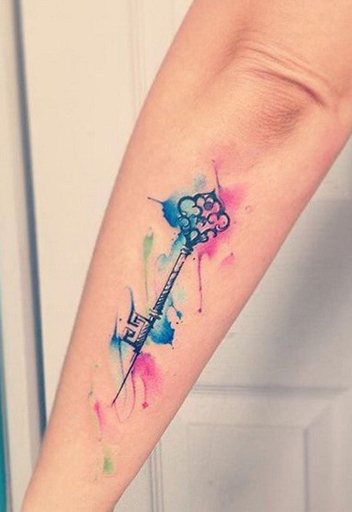 Watercolor Key Tattoo - MyBodiArt.com
