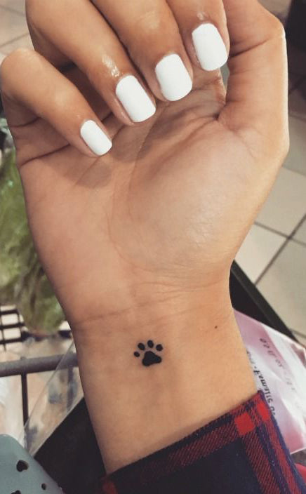 Cute Dog Paw Small Wrist Tattoo Ideas for Women - Small Black Animal Arm Tatouage - Ideas Del Tatuaje - www.MyBodiArt.com