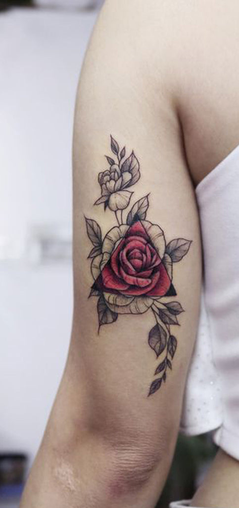 Realistic Black Floral Flower Watercolor Rose Back of Arm Tattoo Ideas for Women - www.MyBodiArt.com