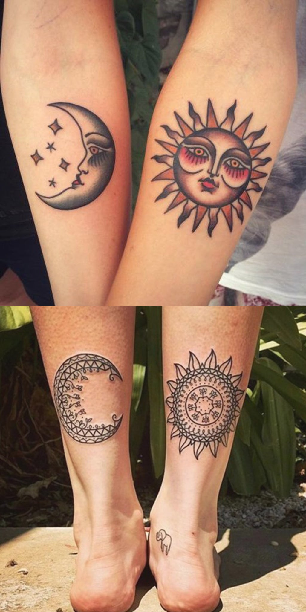 Cool Tribal Sun & Moon Matching Tattoo Ideas fo Best Friends - Bohemian Boho Crescent Forearm Ankle Tat for Couples -  sol y luna que coinciden con las ideas del tatuaje del antebrazo para los mejores amigos - www.MyBodiArt.com