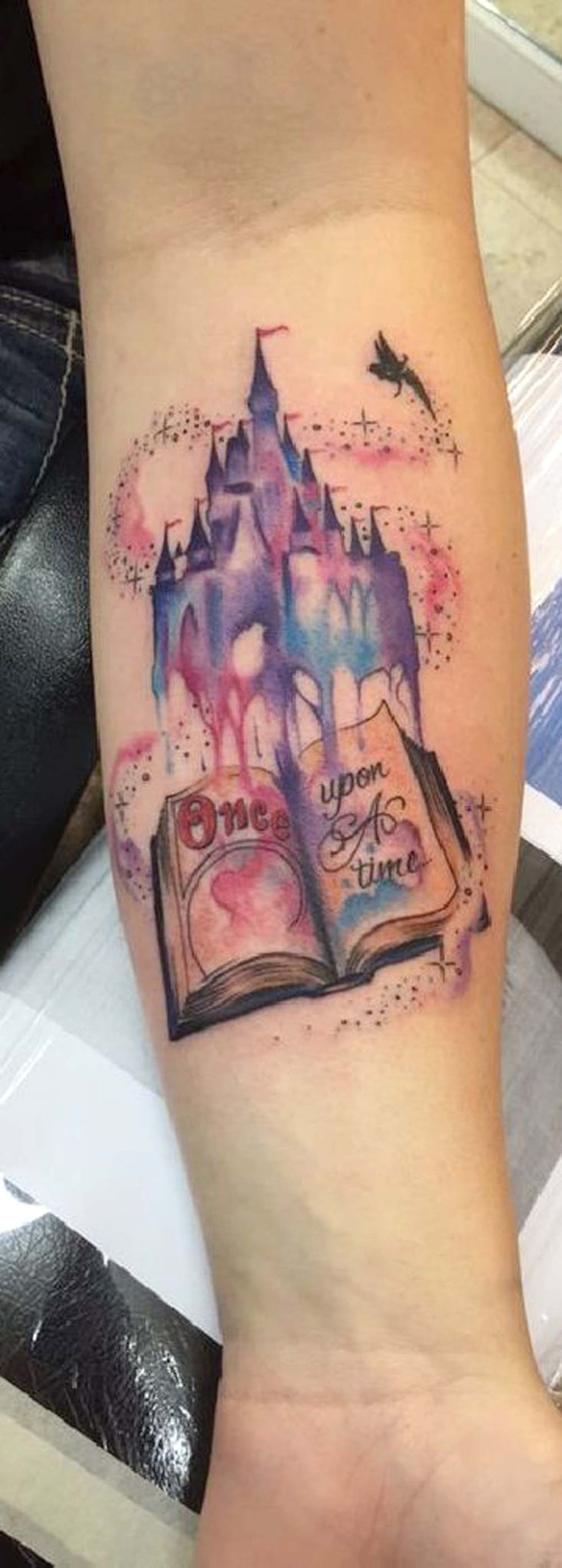 Disney Castle Watercolor Forearm Tattoo Ideas for Women Tinkerbell Fairy  -  ideas de tatuaje de antebrazo de castillo -  www.MyBodiArt.com