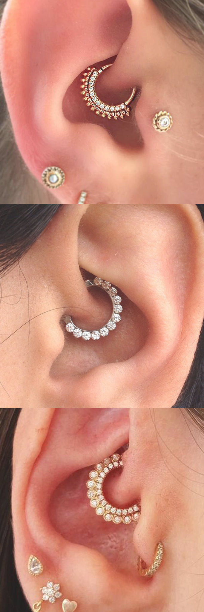 2017 Trendy Ear Piercing Ideas at MyBodiArt.com - Daith Piercing Jewelry Earring Gold Silver 16G - Tragus Stud