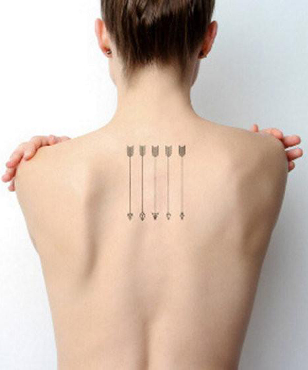 Arrow Spine Back Tattoo Ideas for Women - Simple Black Minimal Small Tiny Tatts