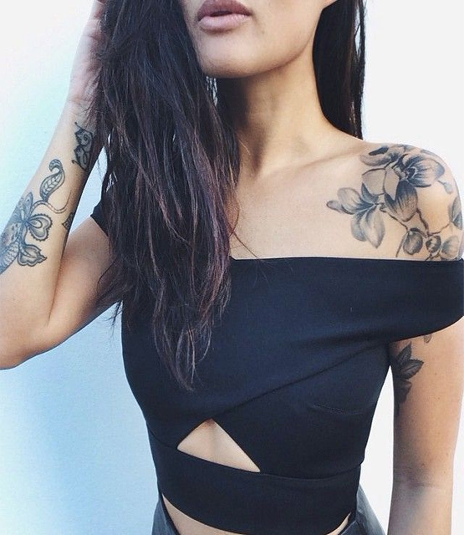 Black Watercolor Flower Shoulder Tattoo Ideas for Women - Floral Arm Sleeve Tatt - MyBodiArt.com