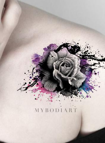 Cool Watercolor Splat Black Rose Tattoo on Shoulder - Traditional Vintage Floral Flower Arm Tat Ideas for Women - ideas frescas del tatuaje del hombro de la rosa negra de la acuarela - www.MyBodiArt.com #tattoos