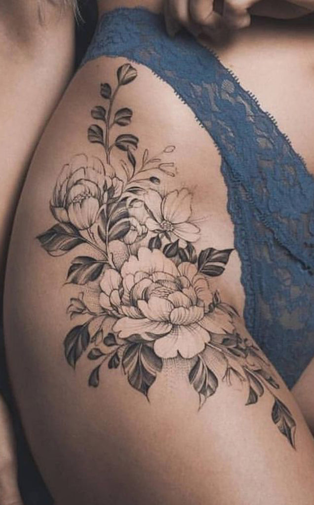 a2fc4a80f Vintage Wild Rose Thigh Tattoo Ideas for Women Black Outline Flower Leg Tat  - www.