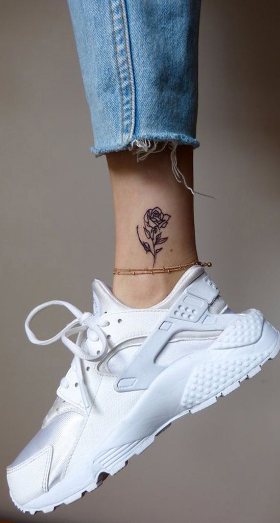 Realistic Small  Rose Ankle Tattoo Ideas for Women - Pretty Cute Flower Leg Tat - pequeñas ideas de tatuaje de pierna de rosa para las mujeres - www.MyBodiArt.com